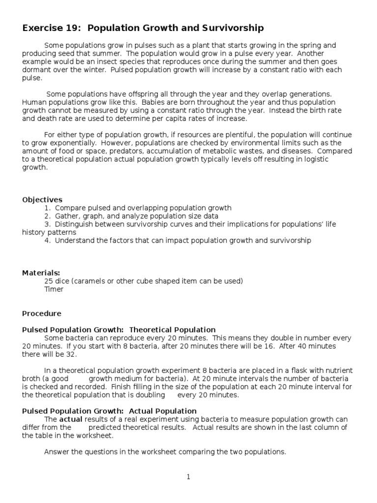worksheet Population Growth Worksheet bio lab 20 population growth and survivorship instructions 1 dice