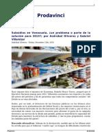 Subsidios en Venezuela Un Problema o Parte de La Solucion Para 2015 Por Asdrubal Oliveros y Gabriel Villamizar