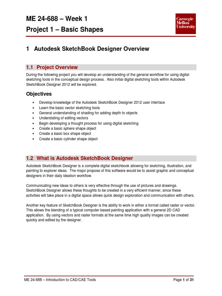 Me 24-688 – Week 1 Project 1 – Basic Shapes: 1 Autodesk Sketchbook