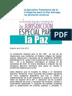 Boletin Rueda de Prensa Avances de la Secretaría Ejecutiva Transitoria de la Jurisdicción Especial para la Paz