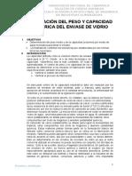 Determinación Del Peso y Capacidad Volumétrica Del Envase de Vidrio