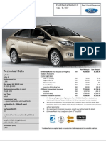 Ford Fiesta Sedan LX 1.6L Ti-VCT Estimated Price List
