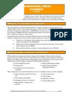 Occupational Stress Fact Sheet
