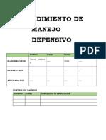 Procedimiento de Manejo Defensivo 2016