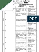 Plan de Trabajo Taller de Manualidades 2017
