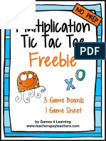MultiplicationFreeMultiplicationFactsTicTacToeMultiplicationGames