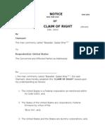 Basadar's Claim of Right