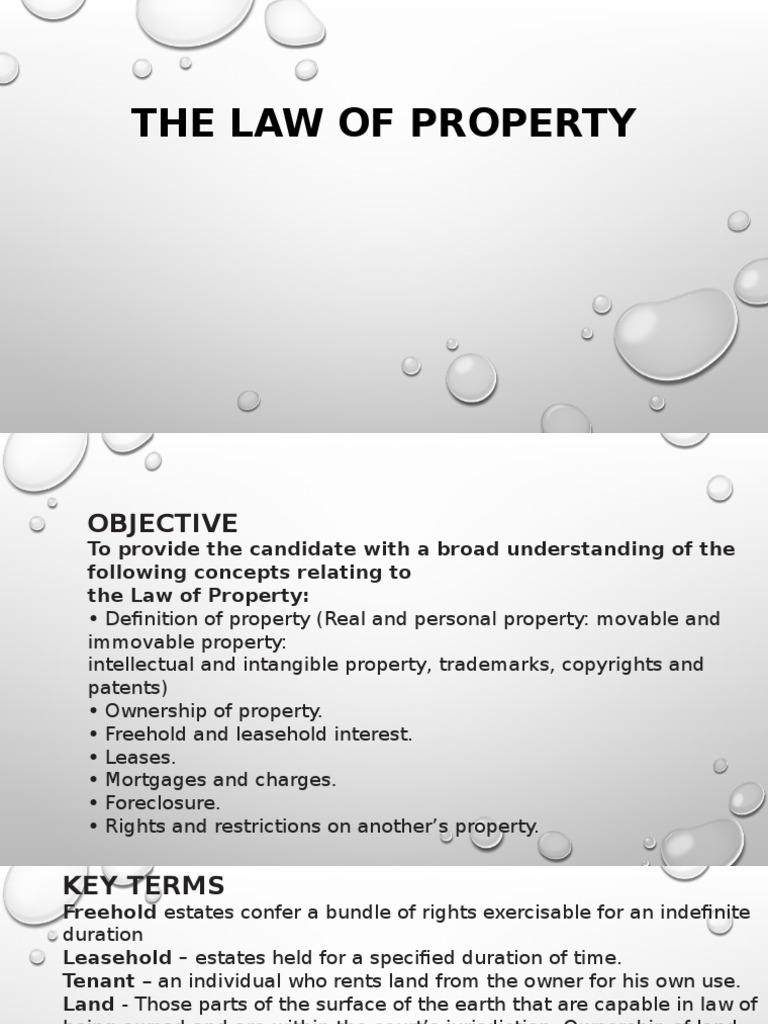 The Law of Property | Mortgage Law | Lease