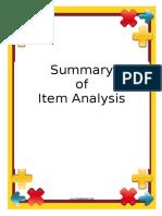 Border Summary Item Analysis