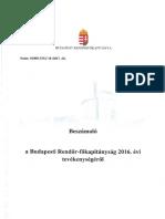Beszámoló a BRFK 2016. évi tevékenységéröl