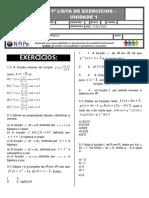 2.ª Ficha de Exercícios - Pré - Cálculo- Funções - Prof. Gênesis s. Araújo