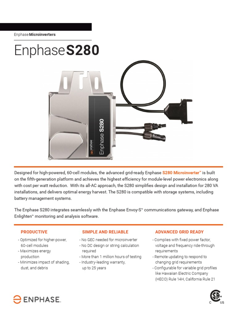 Enphase S280 | Electrical Engineering | Electricity