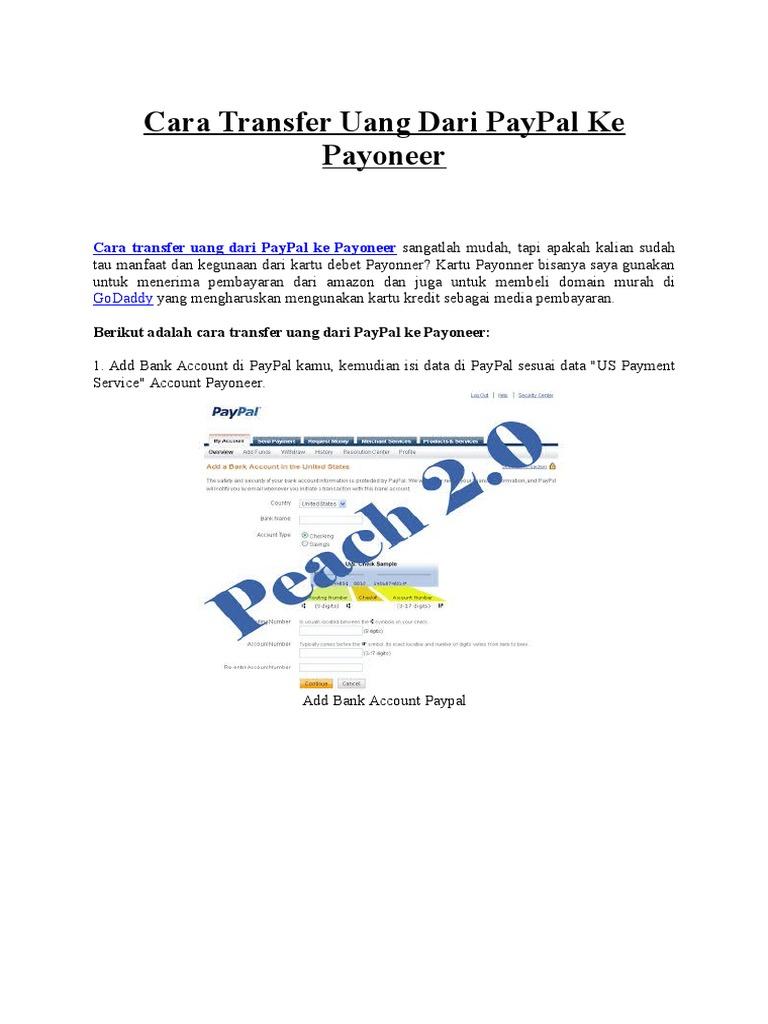Transfer Dari Paypal Ke Kartu Payoneer Pindah Kredit0