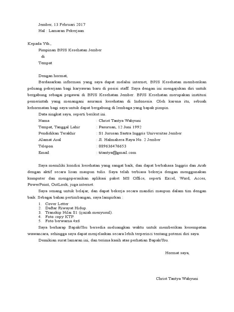 Contoh Surat Lamaran Kerja Di Bpjs Kesehatan Kumpulan Surat Penting