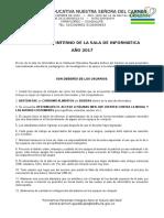 Reglamento Interno de La Sala de Informática 2017