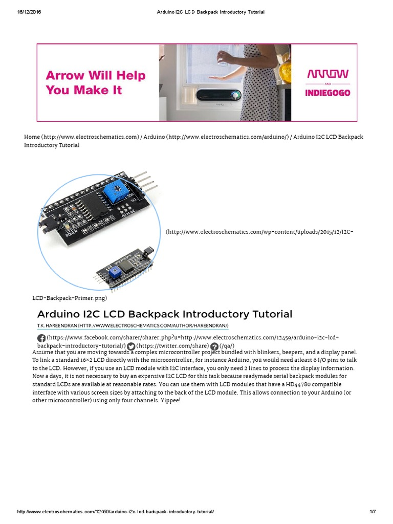 Arduino I2C LCD Backpack Introductory Tutorial | Arduino