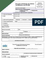 Formulário Para Solicitação de Carteira de Biblioteca 2015 2