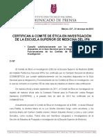 COM 137 2013 Cominicado de Prensa Certificacion de Bioetica