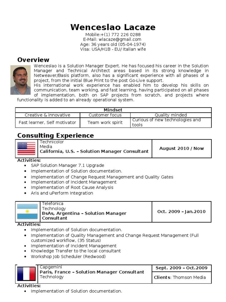 Sap Solution Manager Expert Resume Cv Wenceslao Lacaze Sap