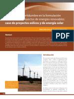 Factores de Incertidumbre en La Formulación Financiera de Proyectos de Energías Renovables