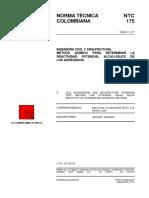 NTC 175 Método Químico para Determinar la Reactividad Potencial Alcali-Sílice de los Agregados.pdf