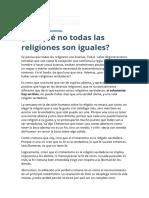 Por Qué No Todas Las Religiones Son Iguales