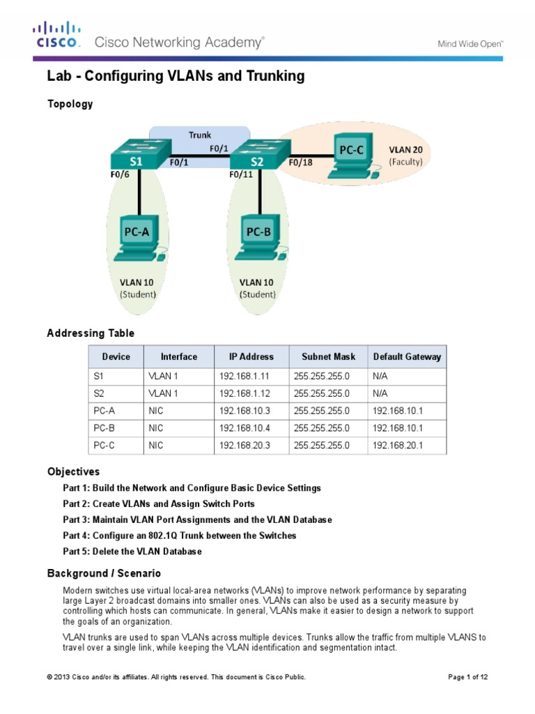 3.2.2.5 Lab Configuring VLANs and Trunking 1 | Network Switch ...