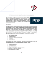 Prevention of Torture Bill 2010 - RCT Comments