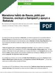 Maradona Habló de Bauza, Pidió Por Simeone, Excluyó a Sampaoli y Apoyó a Batist