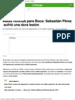Malas Noticias Para Boca Sebastián Pérez Sufrió Una Dura Lesión - Infobae