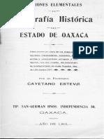 Nociones Elementales de Geografía Histórica Del Estado Oaxaca