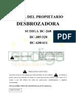 DESBROZADORA SUDIGA BC-260 BC-305/328 BC-430/411