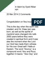 Nourouz in Islam