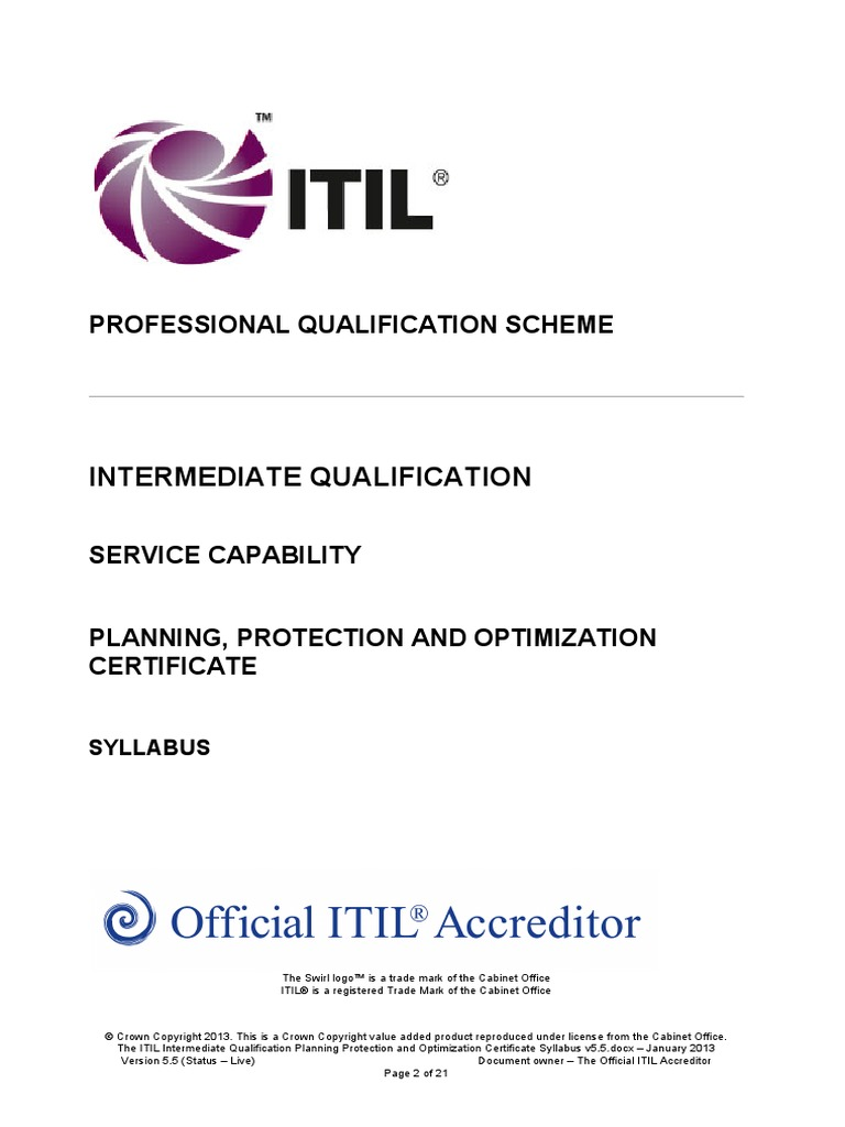The Itil Intermediate Qualification Planning Protection And