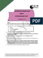 2010-KPSS LİSANS Eğitim Bilimleri Soruları