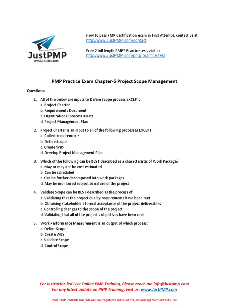 Pmp Chapter 5 Test Project Scope Management Project Management