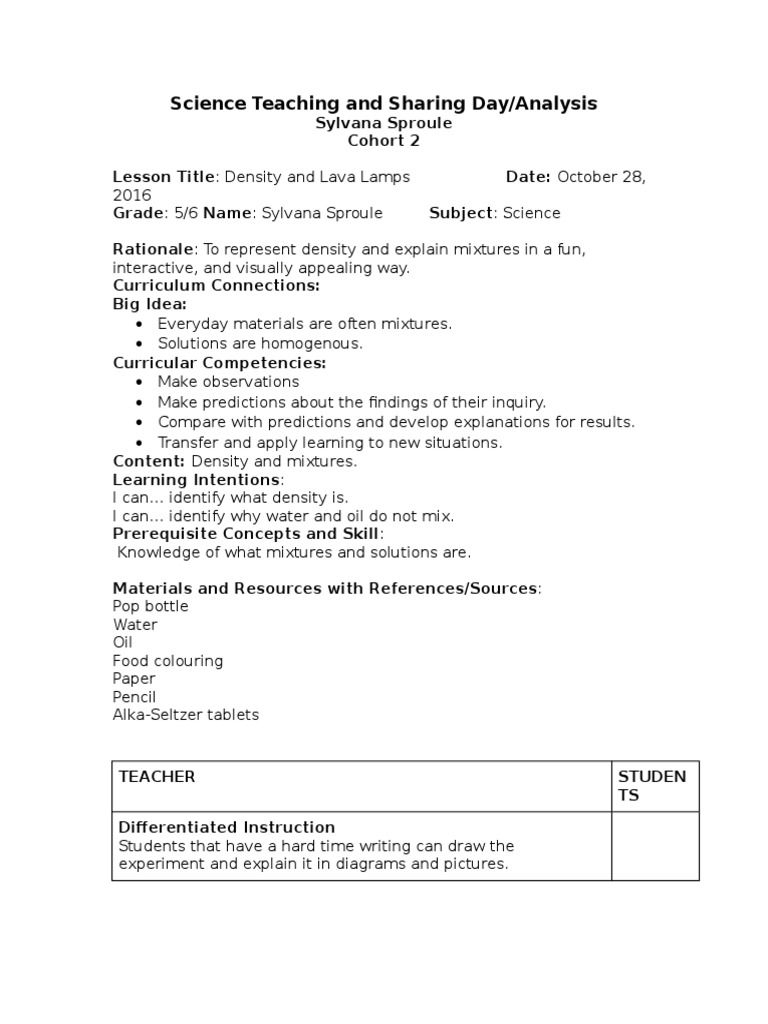 worksheet Lava Lamp Experiment Worksheet density and lava lamps differentiated instruction curriculum