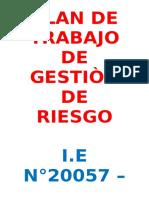 Plan de Trabajo de Gestiòn de Riesgo 2016