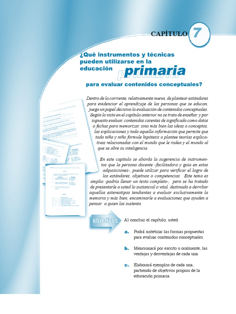 Instrumentos y técnicas para evaluar contenidos conceptuales 7 de 11