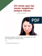 Las 19 Cosas Que Las Personas Negativas Siempre Hacen
