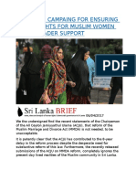 SRI LANKA  CAMPAING FOR ENSURING EQUAL RIGHTS FOR MUSLIM WOMEN GETS BROADER SUPPORT.docx