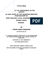 the effect of christianity in the society, case study of the salvation ministry in  Port Harcourt, Rivers of Nigeria 2017/ 4/7