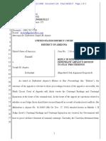 USA v Arpaio #124 Arpaio REPLY Re Motion to Stay Proceedings (Pending Snow Recusal Filings)