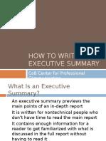 How to Write an Executive Summary