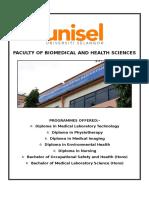 Brochure Jabatan Sains Kesihatan Unisel