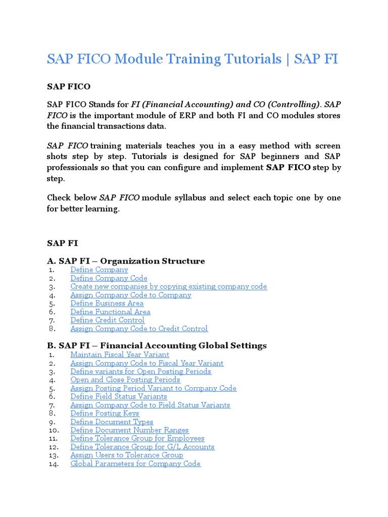 Sap fico training & certification | fico tutorial | sap fico for.