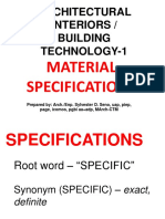 Building Technology Material Specifications