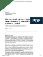 Universidad, Producción de Conocimiento y Formación en América Latina - Estela Quintar