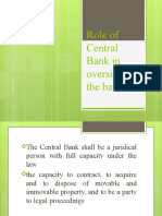 Role of Central Bank in Oversight of the Bank