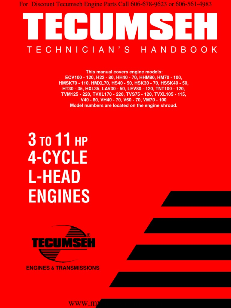 tecumseh-service--repair-manual-3hp-to-11hp-4-cycle-l-head-flat-head-engines-692509  (1) pdf | carburetor | ignition system